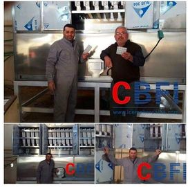 China Freon Gas System Cube Shaped Ice Making Machines Bock / Bitzer / Copeland Compressor factory