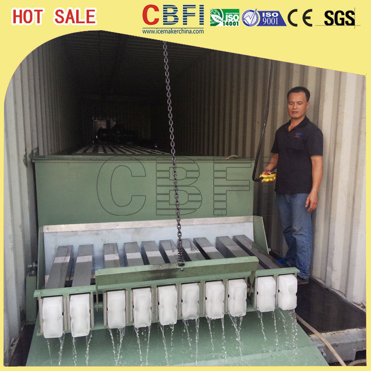 3 Ton Containerized Block Ice Plant , Commercial Ice Block Maker Large Production supplier