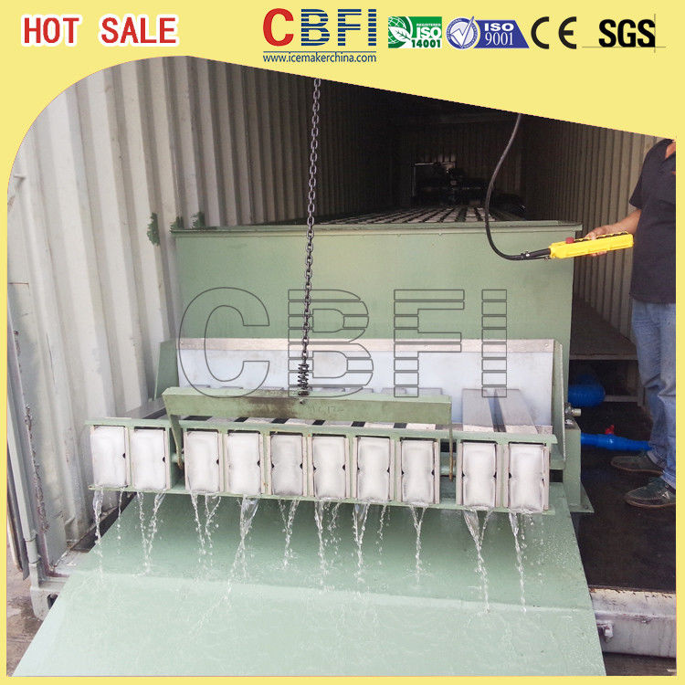 Stainless Steel 316 Block Ice Maker / Dry Ice Block Machine With Crane System supplier