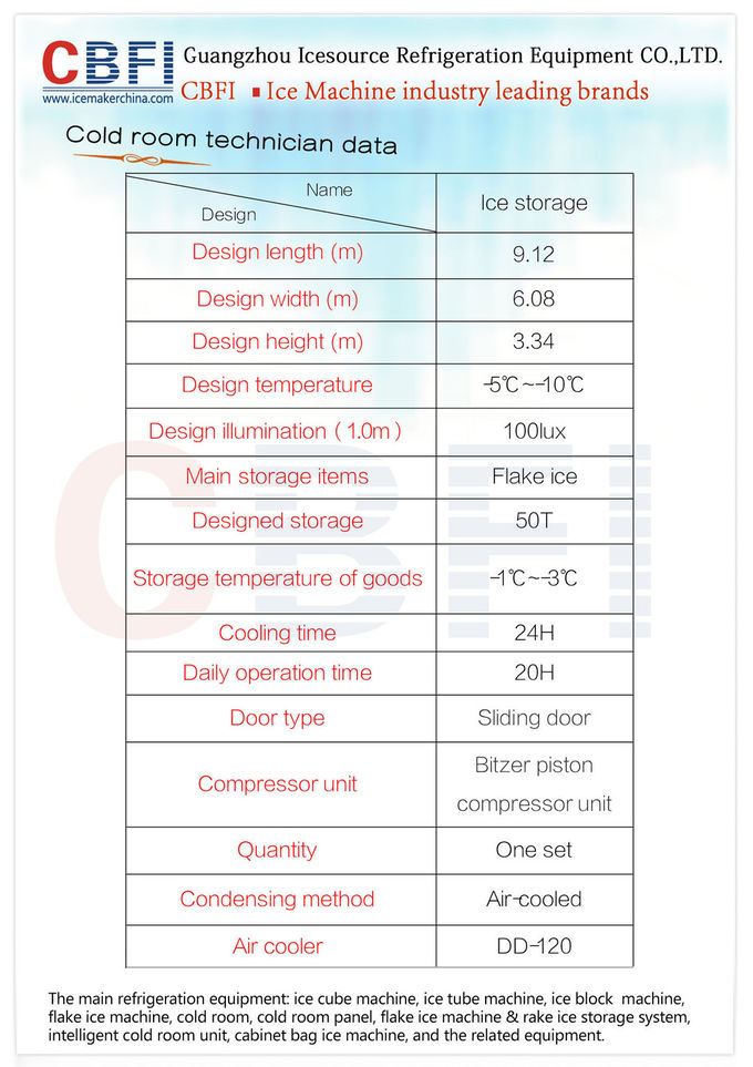 Different Capacity 500kg - 30000kg Flake Ice Maker Air Cooled / Water Cooled