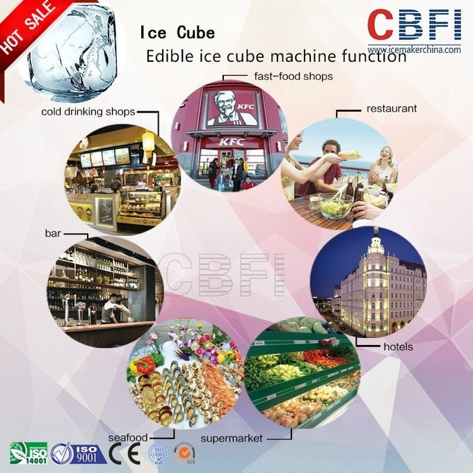 Large 20 Tons Edible Ice Cube Machine With r22 Gas For Beverage Shop